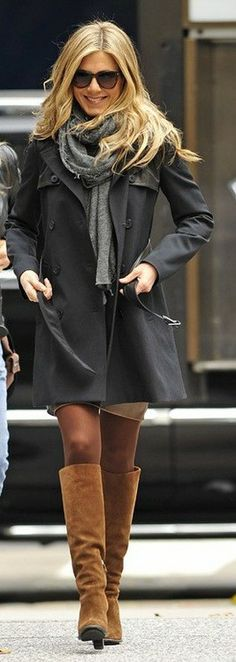 suede boots, black trench, grey scarf