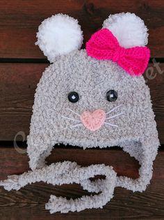 Bonnet souris laine peluche Creations, Crochet Hats, Boutique, Facebook, Fashion, Plush, Computer Mouse, Glove, Knitting Hats