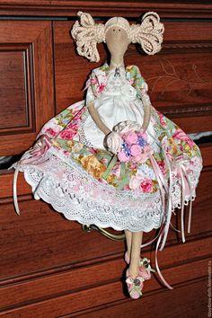 Купить Кукла тильда Маша, Маша и медведь. - зеленый, тильда, кукла ручной работы