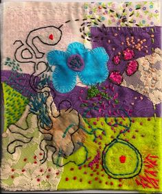 Rachel Udell - 2010  heirloom clothing, fabric, embroidery floss, thread  Fabric and embroidery collage