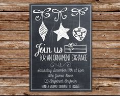 Chalkboard Ornament Exchange Christmas by thepaperblossomshop, $12.50