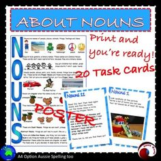 Teaching NOUNS with this printable Literacy Center Activity; all about NOUNS. Poster and 20 Task Cards. I think these tasks will consolidate students' knowledge and interest them at the same time. I've tried to vary the tasks; identifying in texts; associating with images Collective Nouns; making nouns from adjectives etc