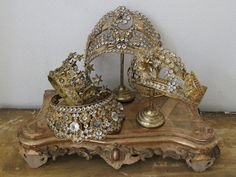 """Beautiful religious crowns (as well as bridal crowns) formerly much used on holy images, often richly decorated with precious or semi-precious stones... 1850-1900."""