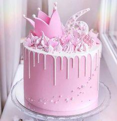 Crown Chocolate Drip Cake, Food & Drinks, Baked Goods on Carousell Pink Princess Cakes, Princess Crown Cake, Princess Cupcakes, Bolo Barbie, Gateau Baby Shower, Drop Cake, Chocolate Drip Cake, Baby Birthday Cakes, Birthday Cake Crown
