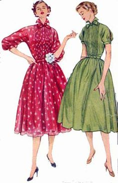 1950s Dress with Full Skirt Simplicity 8483 w/ Tucked Bodice Vintage 50s Rockabilly Sewing Pattern Size 14 Bust 32 by sandritocat on Etsy