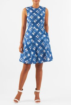 Our check print light cotton dress is fitted through from the round neck to the curved drop waist where it flounces out for a flattering silhouette. Check Printing, Drop Waist, Cotton Dresses, Ready To Wear, Style Inspiration, Clothes For Women, My Style, Womens Fashion, How To Wear