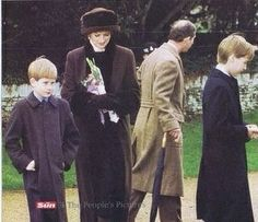 1994--Diana, harry, wills and charles at sandringham Christmas 1994