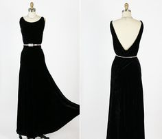 1930s 30s Antique Vintage  Black  Silk Velvet by RedHouseVintages, $275.00