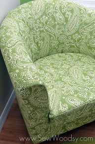 recovering the ikea tullsta chair, painted furniture, reupholster, The chair is finished