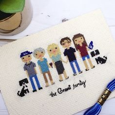 Custom Cross Stitch Family Portrait for 6 or by clothandtwigshop