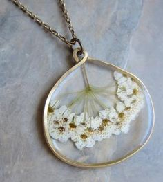 Pacific Ninebark Pressed Flower Necklace