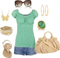jeans shorts, green top, created by missyalexandra on Polyvore