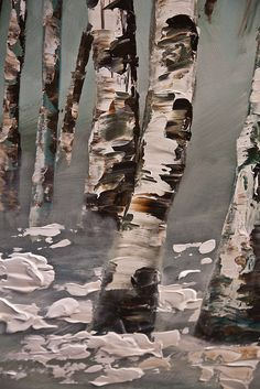 48 x 24 ORIGINAL Abstract Birch Trees Painting por OsnatFineArt