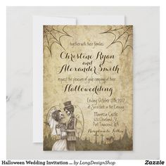 Halloween Wedding Invitation with Skeleton Couple Halloween Bride, Halloween Fun, Unique Invitations, Wedding Invitation Design, Halloween Wedding Invitations, Romantic Wedding Receptions, Ghost And Ghouls, Port Townsend, Colored Envelopes