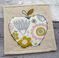 Contemporary Coaster - Apple Coaster - Fabric Coaster                                                                                                                                                                                 More