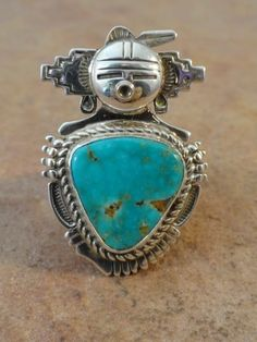 Bennie Ration Navajo Sterling Silver & Turquoise Kachina Ring 7 1/4 $115.00