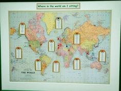 """Where in the world am I sitting?"" - another great world map themed seating plan from a recent wedding."