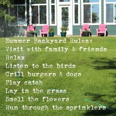 Some summer rules are made to be followed!
