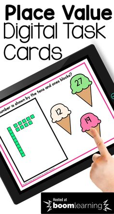 First graders can practice working with tens and ones blocks with this fun digital place value activity. Each of the 30 cards are self-checkging. Students count the base ten blocks to determine the number shown. They select the number from three given options.