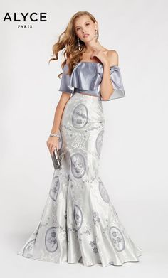 374195dd74e Alyce Paris 60336 Off Shoulder Ruffle 2 Piece Prom Dress