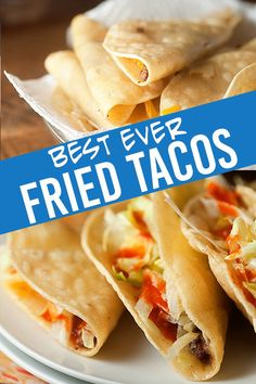 The BEST fried tacos ever! These Jack in the Box copcat tacos are even better t… Die besten gebratenen Tacos aller Zeiten ! Diese Jack in the Box Copcat Tacos sind sogar noch besser als die Restaurantversion! Authentic Mexican Recipes, Mexican Food Recipes, Beef Recipes, Cooking Recipes, Top Recipes, Fried Tacos, Crockpot, Good Food, Cinco De Mayo