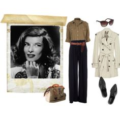 Katherine Hepburn style: A great trench coat with great shoes and a gorgeous bag. And I might invest in a pair of pointy brow sunglasses.