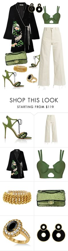 """Kimono style"" by sab-luxe-styles ❤ liked on Polyvore featuring Manolo Blahnik, Rachel Comey, RIXO London, Buccellati, Chanel and Allurez"