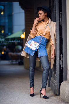 denim skirt and leather pants_robyn byn