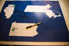 Map Guestbook for Wedding...very cool!