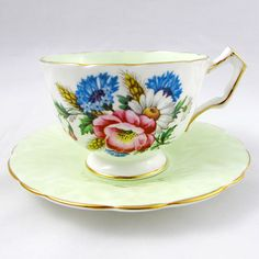 Aynsley Tea Cup and Saucer with Colorful Bouquet of Flowers, Green, Vintage Bone China, Vintage Tea Cup