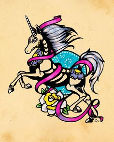Day+of+the+Dead+UNICORN+Tattoo+Flash+Art+Print+5+by+illustratedink,+$10.00