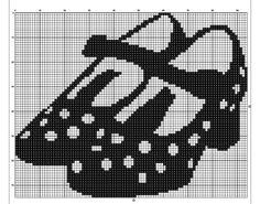 0 point de croix chaussures noires pois blancs - cross stitch black shoes white dots