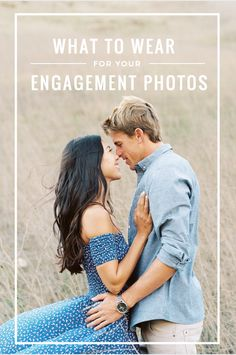 What to wear for your engagement photos blue off the shoulder dress chambray shirt fashion for your engagement session