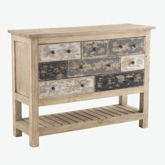 Console Table is from our Vintage Casual Furniture collection.Made from sustainable rubber wood. Shabby Chic Furniture, Industrial Furniture, Furniture Decor, Wooden Console Table, Drawer Table, Small Drawers, Hazelwood Home, Table And Chairs, Tables