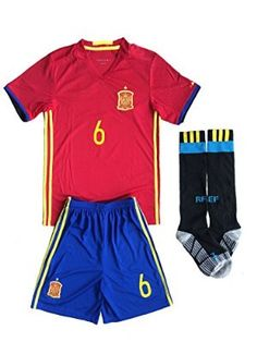 2016 UEFA Euro Spain Home Kids A.INIESTA # 6Youths Children Football Soccer Jersey & Short & Socks