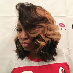18 Best Ideas Wavy Bob Hairstyles for African American Woman - Beautiful Look 2018 Hairstyles For Round Faces, African Hairstyles, Trendy Hairstyles, Weave Hairstyles, Black Hairstyles, Ponytail Hairstyles, Makeup Hairstyle, Hairstyles 2018, Hairstyle Ideas