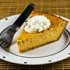 If you have family members who need to limit sugar, but you want a delicious Thanksgiving dessert, this Low-Sugar Pumpkin Cheesecake Pie is the best! [from Kalyn's Kitchen] #LowGlycemicRecipe  #LowSugarThanksgiving Dessert