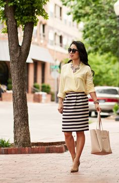 cute & little blog | petite fashion | spring outfit | yellow surplice silk top, black white striped skirt, crystal flower statement necklace...
