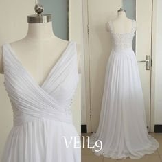 White Lace Prom Dresses V-neck Chiffon Bridesmaid Dresses by VEIL9