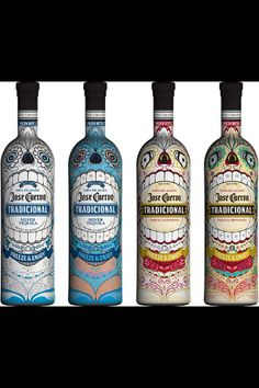 Jose Cuervo Tequila Limited Edition Packaging. Jose Cuervo Reposado & Jose Cuervo Silver. Dia de los muertos style. They look great in Aztec/Mayan theme