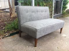 Mid Century Modern Gray Settee, Small Loveseat, Chair, Couch $300