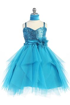 Sparkly Sequined Sweetheart Tulle Overlayed Girl Dress Flower Bodice | eBay