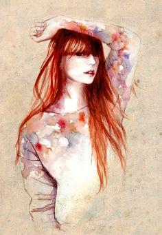 redhead #illustration via http://www.pinterest.com/melodaze/fashionable-illustrations/