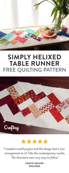 The Simply Helixed Quilting Pattern is super quick and easy! Whether you choose to use your favorite charm pack, or use up the last few charms from a used pack, make this beautiful table runner your own. Free Beginner Quilting Pattern.