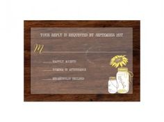 Rustic Sunflower & Mason Jar Response Cards #rustic #wedding #invitations #sunflowers #masonjars