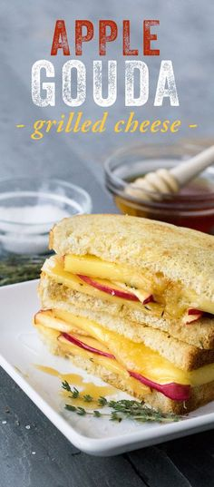 Apple Gouda Grilled Cheese: If ever there was a comfort food, grilled cheese is it! Treat yourself to a well-deserved food-cation with this melty little number. Featuring California Goldminer Sourdough Bread, Gouda cheese, Honeycrisp apple, sea salt, honey and fresh thyme.