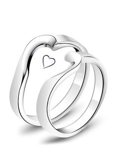 Half & Half Heart Promise Rings Set for Couples, Cheap Simple Heart Wedding Rings in Sterling Silver, Matching His and Hers Jewelry Set for Girlfriend and Boyfriend