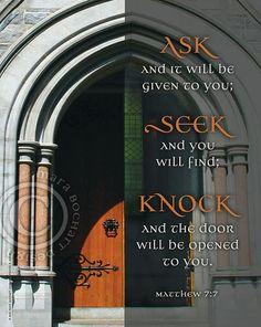 Ask Seek Knock - frameable print Ask Seek Knock, Knock Knock, Christian Artwork, Spiritual Inspiration, 7 And 7, The Originals, Prints, Quotes, Design