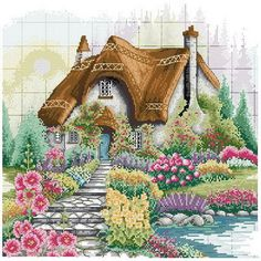 Good Value Cross Stitch Kits Beginners Kids Advanced - Flower CT DIY Handmade Needlework Set Cross-Stitching Accurate Stamped Patterns Embroidery Home Decoration Frameless Cross Stitch House, Counted Cross Stitch Kits, Cross Stitch Charts, Cross Stitch Designs, Cross Stitch Patterns, Ribbon Embroidery, Embroidery Art, Cross Stitch Embroidery, Embroidery Patterns