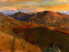 'Sierra Nevada desde el Cementerio, Granada', óleo sobre lienzo de Joaquin Sorolla Y Bastida (1863-1923, Spain)